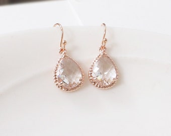 Rose gold earrings, bridesmaid gift, Rose gold clear earrings, Clear crystal drop earring, Maid of honor gift, Wedding rose gold earrings