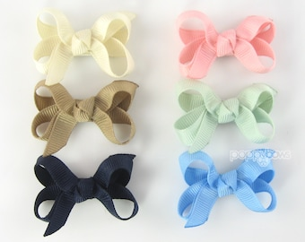 Baby Hair Bow Set - 6 Pack Muted Modern Extra Small Boutique Bows On Mini Snap Clip for Fine Hair Newborn to Toddler - Non Slip Barrette mm
