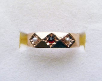 Victorian rosy yellow gold engraved bohemian garnet seed pearl gypsy starburst ring size 5