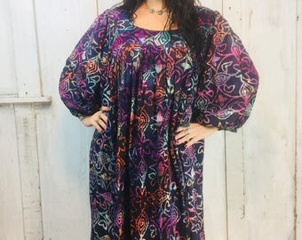 Vintage Indian Cotton Dress// Indian Cotton Dress 1970s// Cosmic Dress Large//Handmade Kaftan// Ethnic Boho Hippy Dress/