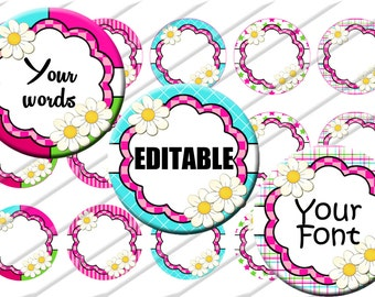 Editable  Bottle Cap Images 1 inch circle image sheet Digital Collage INSTANT DOWNLOAD Clipart Clip  art