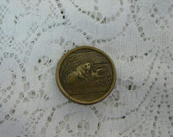 "Antique Button Brass 1"" Dog and Duck or Goose, Back Marked "" Wolco"""