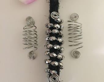 Silver Coil Locs Jewelry Silver Spiral & Metallic Silver Beads Set of 3 Dreadlock Cuffs Hair Jewelry Braids Dread Loc Jewelry Sisterlocks