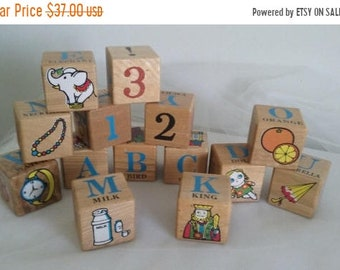 ON SALE Vintage Pre School ABC Beginners Blocks 1950's in Original Box//Nichigan's Toy Abc Blocks//Alphabet and Numbers Blocks//Wooden Abc B