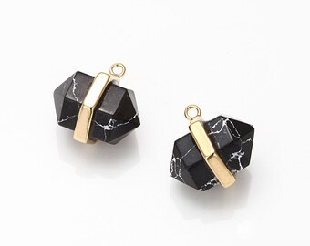 Black Marble Gemstone Pointed Pendant, Howlite Charm Polished Gold -Plated - 2 Pieces [G011701-PGBM]