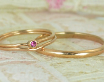 Tiny Ruby Ring Set, Solid Rose Gold Wedding Set, Stacking Ring, Solid 14k Gold Ruby Ring, July Birthstone, Bridal Set, Engagement Rings