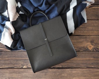 Leather small backpack for women. Minimalist bag. Handmade genuine leather rucksack. Black color. S size.