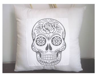 Day of The Dead Sugar Skull - Henna Sugar Skull - Gifts For Teens - Teenager Bedroom Decor - free shipping  - 14 x 14 Pillow