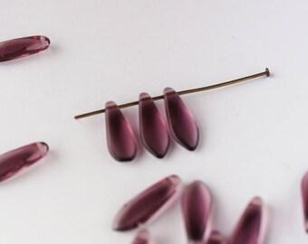 45 beads Czech glass daggers amnethyste 15 mm