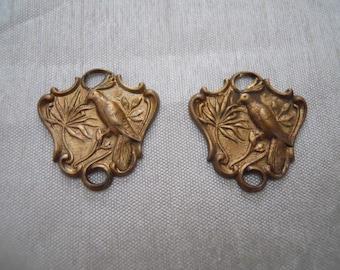 Vintage  Brass Bird Connectors Charms