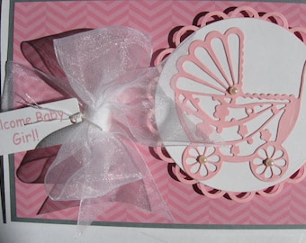 New baby boy or girl, baby shower,congrats to the new parents,personalize this adorable baby card at NO EXTRA CHARGE, choose pink or blue