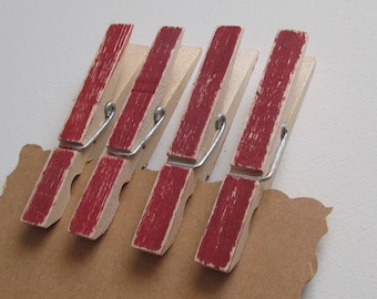 Rustic Red Clothespins, Decorated Clothespins, Painted Clothespins, Distressed Clothespins, Americana Decor, Barn Red Decor,Red Photo Hanger