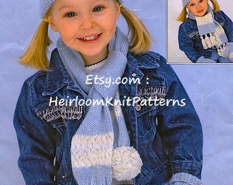 Baby Child Hats Scarves Mittens Vintage Knitting Pattern 6M-9y Knit Baby Boy Girl Kids Child's Children's Hat Set Instant download PDF - 792