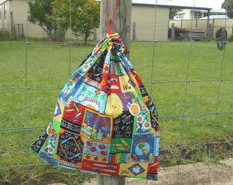 School library bag, toy bag or kindy sheet bag, large cotton drawstring bag for kids