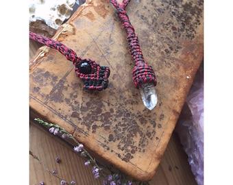 Talisman Crystal Quartz Macrame Necklace with Black Onyx - pendulum - Love, protection amulet, healing, ceremony