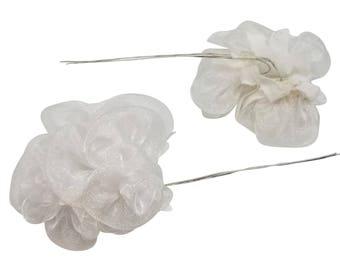 White Organza Flowers - 12 pieces