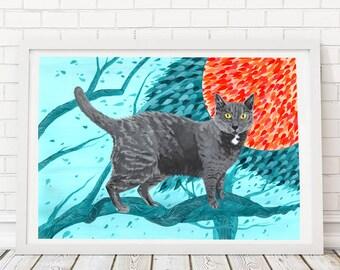 Ruusu | A3 Digital Cat Print