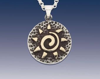 Sun Pendant Necklace - Sun Disk - Sterling Silver Sun with 10K Yellow Gold - Sun Jewelry - Sky Jewelry - Beach Sun Jewelry - Native American