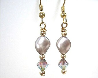Platinum Pearl Crystal Dangle Earrings Wedding Jewelry, Gold Filled Bridal Jewelry, June Birthstone Birthday Anniversary Gift for Women E358