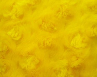 Minky Rosebud Cuddle Fabric By The Yard Yellow (W1)