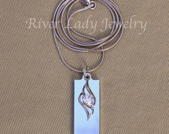 Rhinestone Flame USB Drive Necklace with Rhodium Plated Sterling Silver Chain