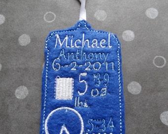 Custom Embroidered Doctor Who TARDIS baby announcement keepsake, 1st Christmas ornament