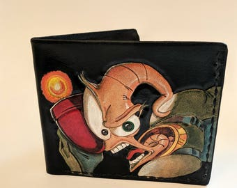 Eathworm Jim Inspired Hand Tooled Leather Wallet