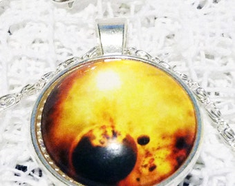 Gold Nebula Statement Necklace For Her Fire Galaxy Necklace For Him White Jewelry GALACTIC SUPER VOLCANO