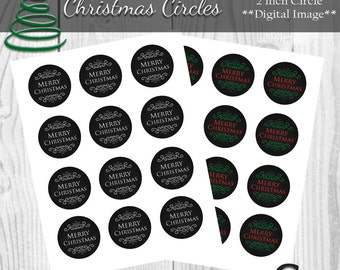 Merry Christmas 2 inch Circles - INSTANT DOWNLOAD