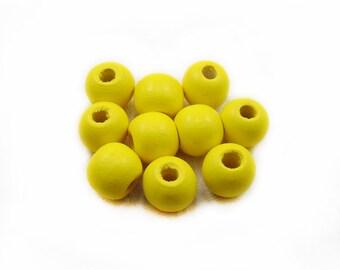 Yellow Wood Beads, 12mm Wood Beads, Yellow Wooden Beads, Round Beads, Wood Beads, Yellow Beads, Jewelry Making, DIY Beads
