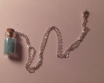 Blue vial necklace