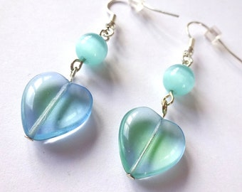 Green and blue clear glass heart beads earrings with cat's eye effect beads