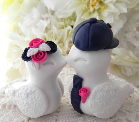 Love Birds Wedding Cake Topper, White, Navy and Fuschia,  Backwards Baseball Cap, Bride and Groom Keepsake, Fully Customizable