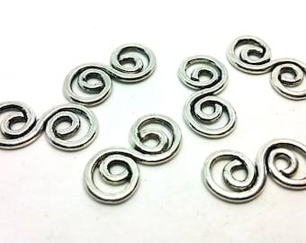 Silver x 1 charm - spiral Arabesque modern - metal - jewelry customization