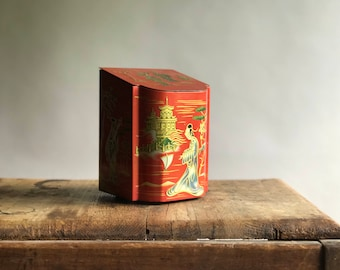 Vintage Red Metal Tin/ Baret Ware of England Tin / Red Metal Biscuit Tin / Geisha Biscuit Tin