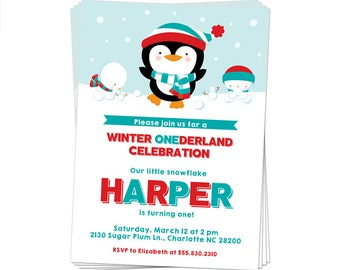 50% Off Sale! - PRINTABLE Winter Onederland Party Invitation