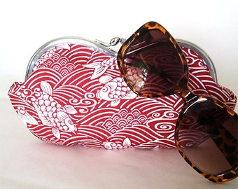 Large sunglass case ~ Japanese Koi Swimming on Red and White Waves, a small clutch