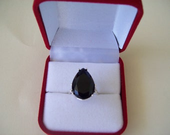 Jet Black Pear Ring Sterling Silver - Huge 18x13 mm