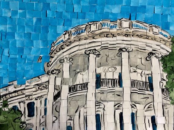 "Washington DC- White House -Architectural Art: 9""x12"" Original Painting"