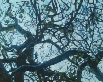 Branches A small to medium sized oil painting on canvas in blue, white and green