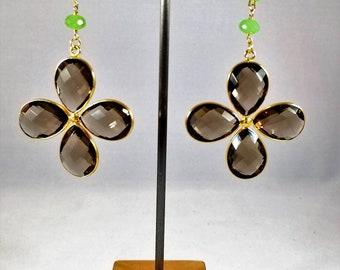 Topaz Earrings, Chrysoprase Earrings, Statement Earrings, Gemstone Earrings