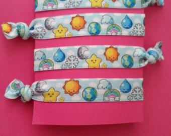 Set of 4 weather elastic Hair ties