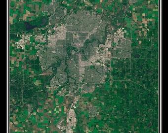 Edmonton Alberta Satellite Poster Map