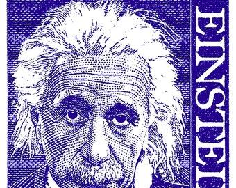 REMASTERED Albert Einstein Vintage Line Art Poster 1968 Postage Stamp Wall Print, Educational Decor, Science Gift