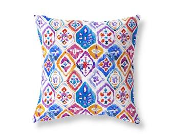 Mediterranean Cushion Cover, Watercolour Ikat Tiles, Red Blue, Handmade Pillow Cover, 40cm (16'') x 40cm (16''), Cotton Twill