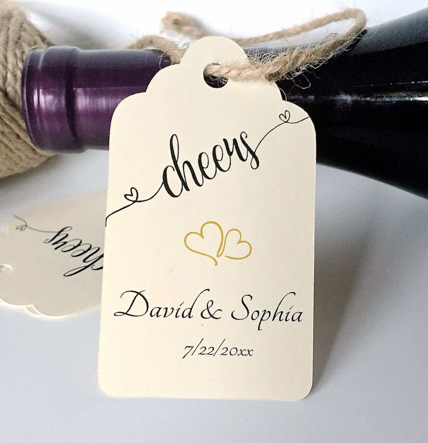 Wedding favor tags, wine tags, cheers tags, champagne favor tags ...