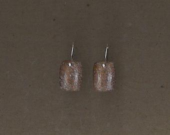 Dinosaur Bone and Sterling Silver Earrings Handmade by Chris Hay