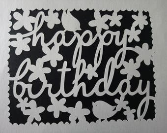 Happy Birthday papercut - Paper Panda template - birthday present - handcut papercut -