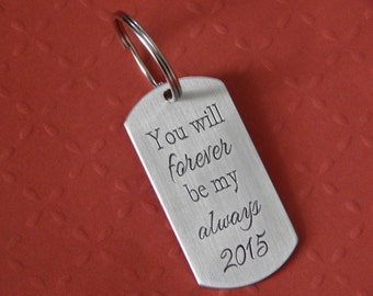 Love Keychain, Engraved Dog Tag Keychain, Aluminum Dog Tag, Anniversary, Custom Keychain, Wedding Gift, Birthday, Gift for Spouse or Partner