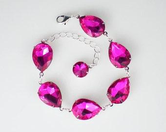 Rhinestone Bracelet, Hot Pink Bracelet, Fuchsia Bracelet, Bridesmaid Gift, Wedding Jewelry, Gift for Her, Pink Wedding, Bridal Party Gift